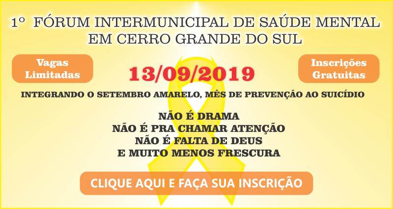 I Fórum Intermunicipal de Saúde Mental em Cerro Grande do Sul