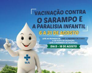 Campanha de vacinação contra sarampo e poliomielite para crianças acontece em agosto